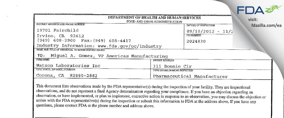 Watson Labs FDA inspection 483 Nov 2012