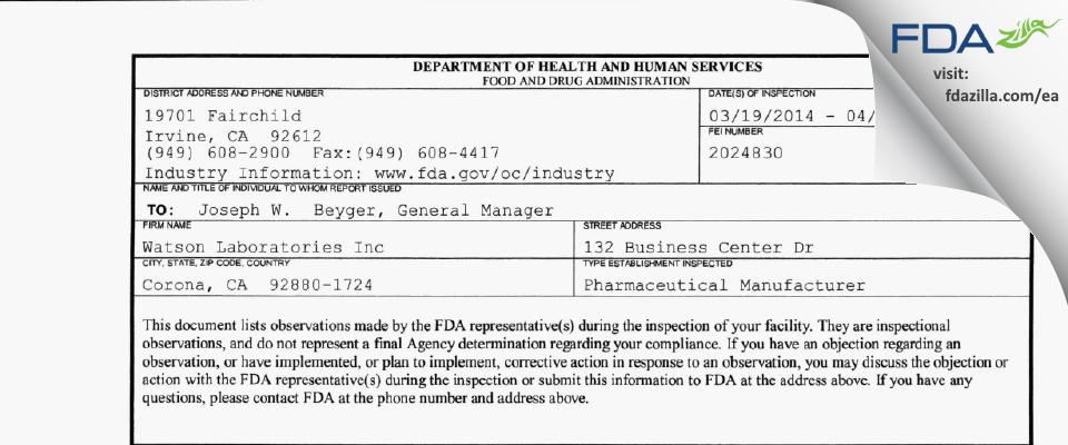 Watson Labs FDA inspection 483 Apr 2014
