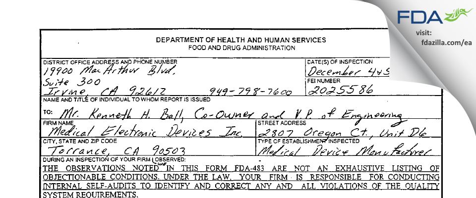 Medical Electronic Devices FDA inspection 483 Dec 2002