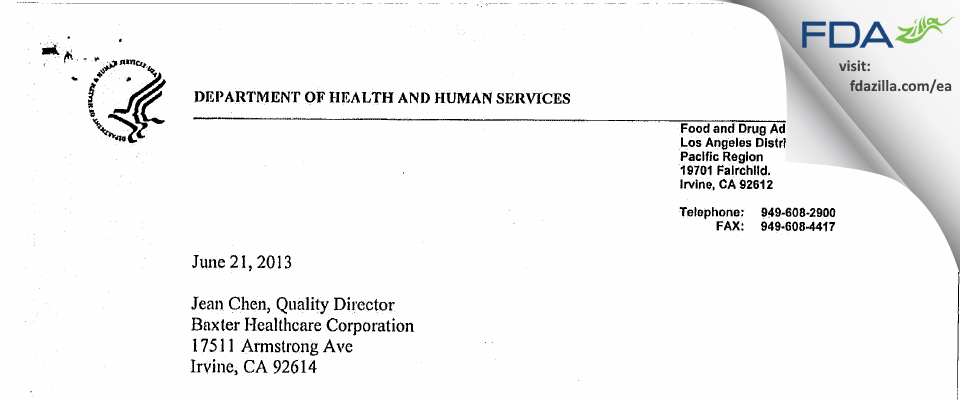 Baxter Healthcare FDA inspection 483 Jun 2013