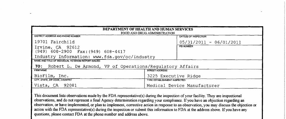Biofilm FDA inspection 483 Jun 2011