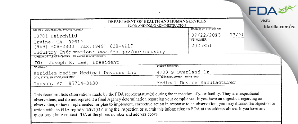 Xeridiem Mediem Medical Devices FDA inspection 483 Jul 2013