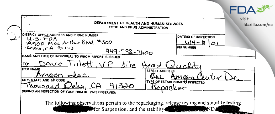 Amgen FDA inspection 483 Jun 2001