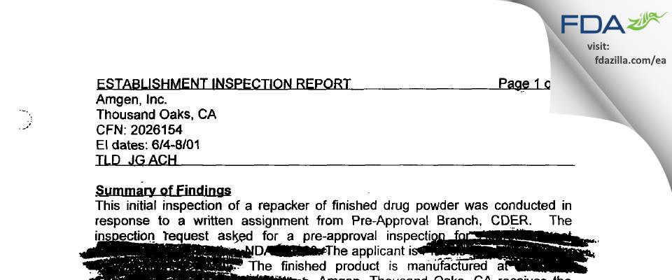 Amgen FDA inspection 483 Jun 2001
