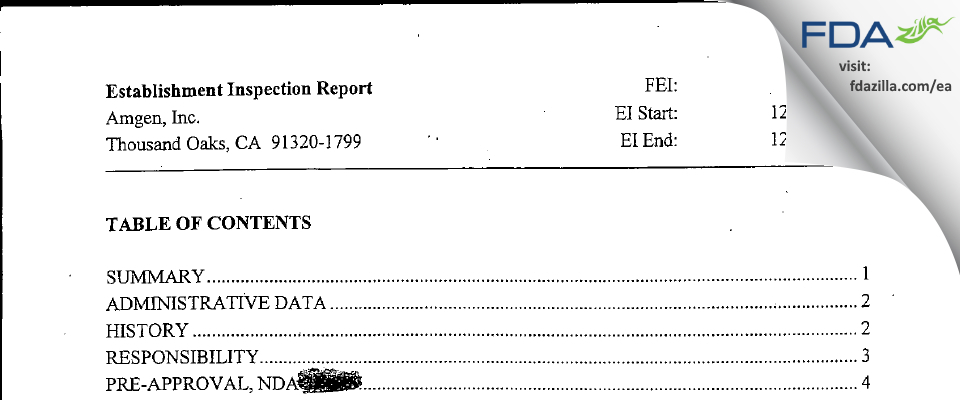 Amgen FDA inspection 483 Dec 2003