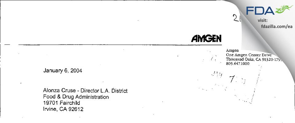 Amgen FDA inspection 483 Dec 2003