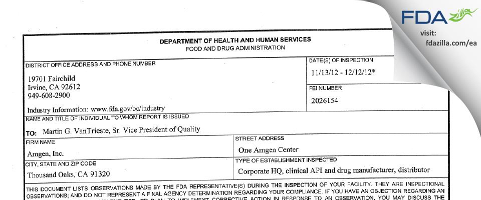 Amgen FDA inspection 483 Dec 2012