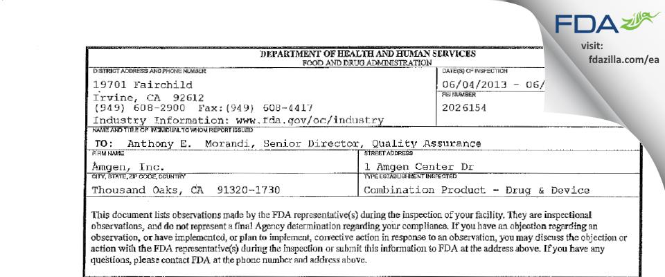 Amgen FDA inspection 483 Jun 2013