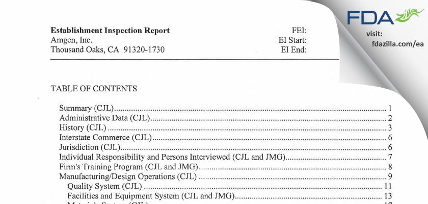Amgen FDA inspection 483 May 2015