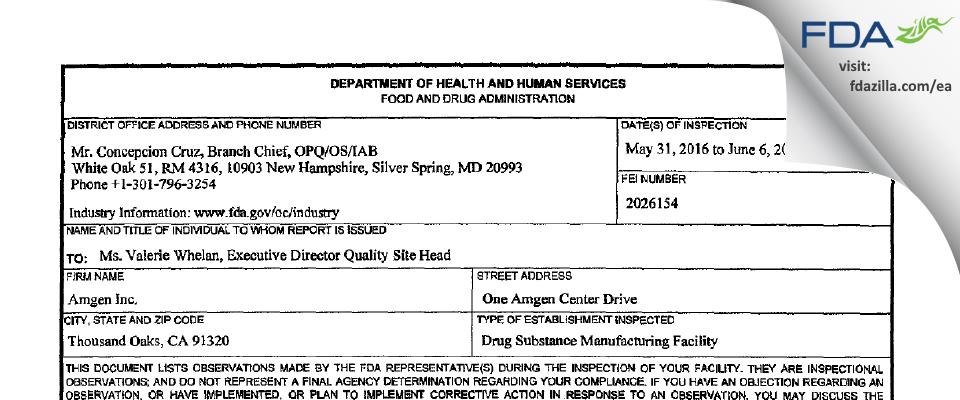 Amgen FDA inspection 483 Jun 2016