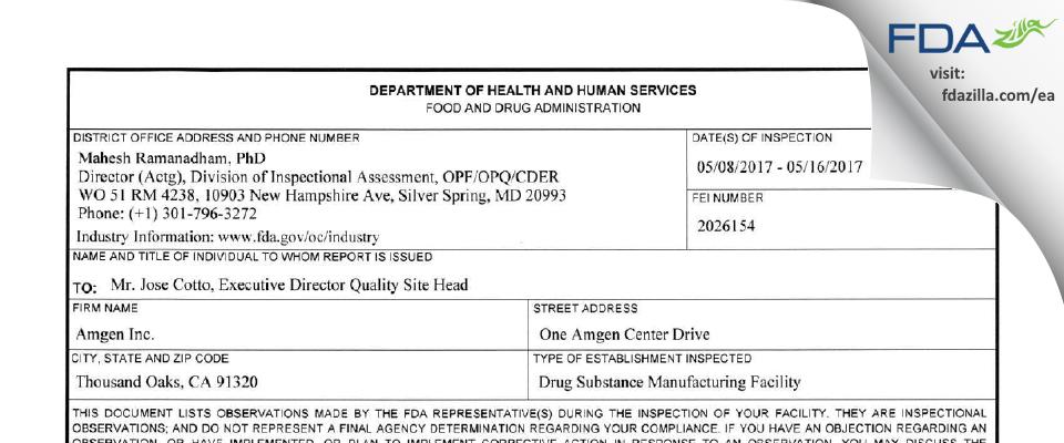 Amgen FDA inspection 483 May 2017