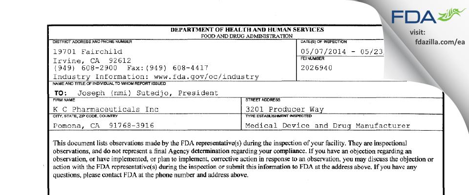 K.C. Pharmaceuticals FDA inspection 483 May 2014