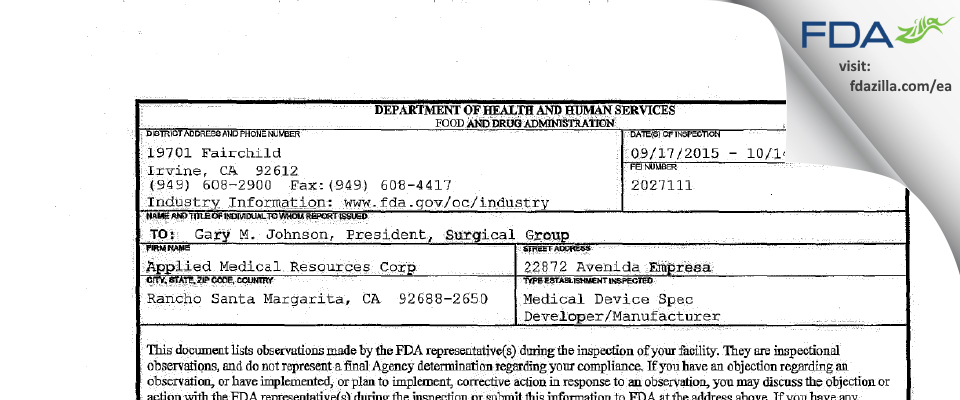 Applied Medical Resources FDA inspection 483 Oct 2015