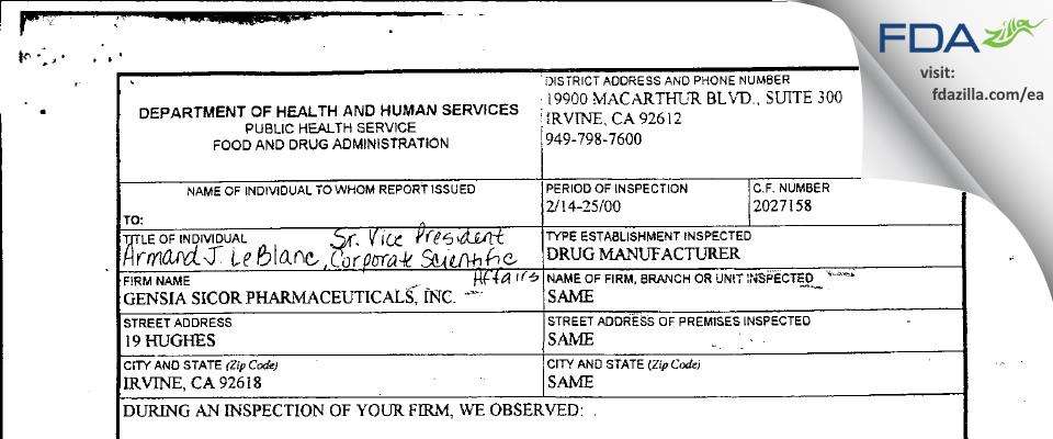 Teva Parenteral Manufacturing FDA inspection 483 Feb 2000