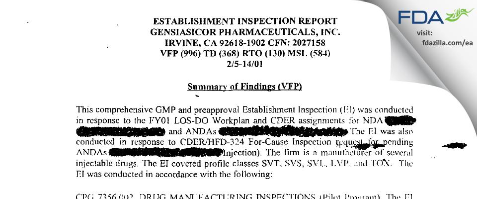 Teva Parenteral Manufacturing FDA inspection 483 Feb 2001