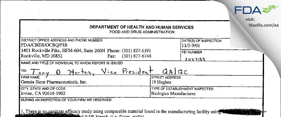Teva Parenteral Medicines FDA inspection 483 Nov 2001