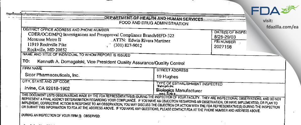 Teva Parenteral Manufacturing FDA inspection 483 Aug 2003
