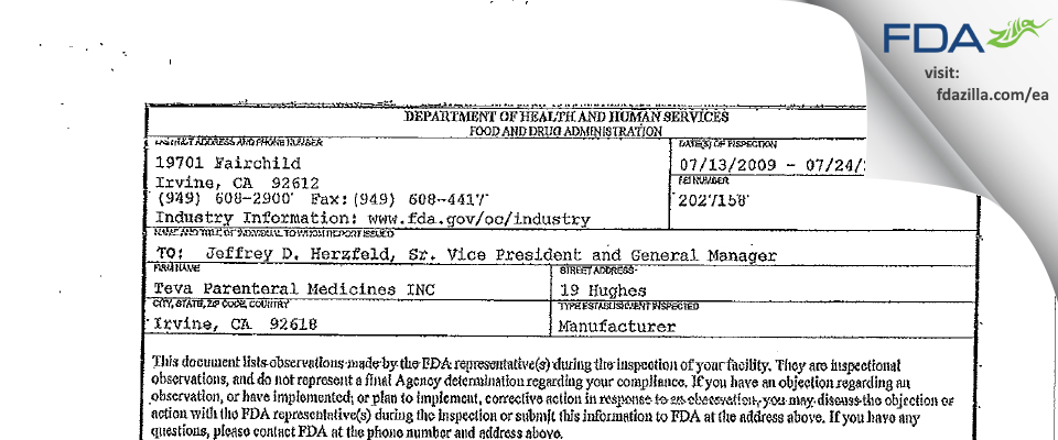 Teva Parenteral Manufacturing FDA inspection 483 Jul 2009
