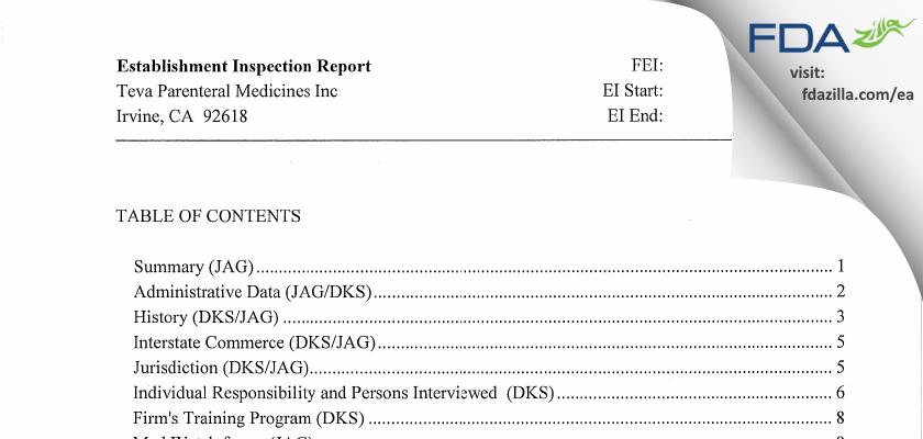 Teva Parenteral Manufacturing FDA inspection 483 Feb 2010