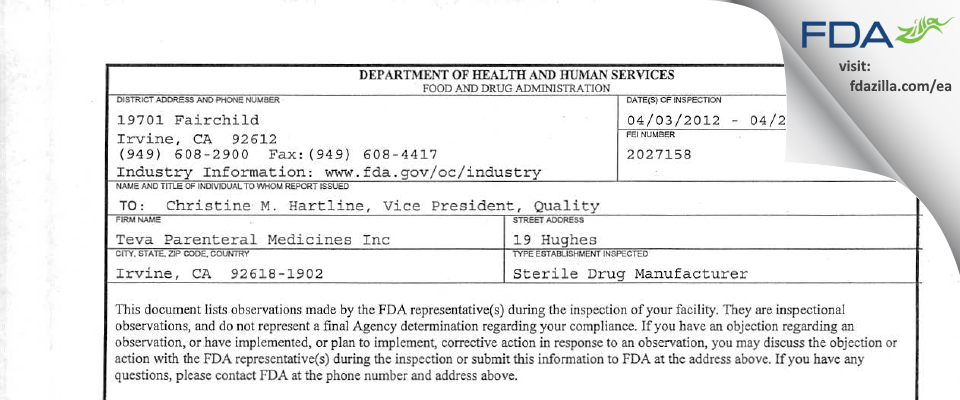 Teva Parenteral Manufacturing FDA inspection 483 Apr 2012