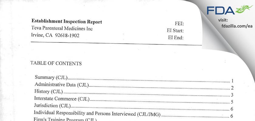 Teva Parenteral Manufacturing FDA inspection 483 Apr 2012