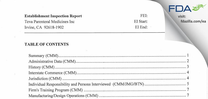 Teva Parenteral Manufacturing FDA inspection 483 Aug 2012