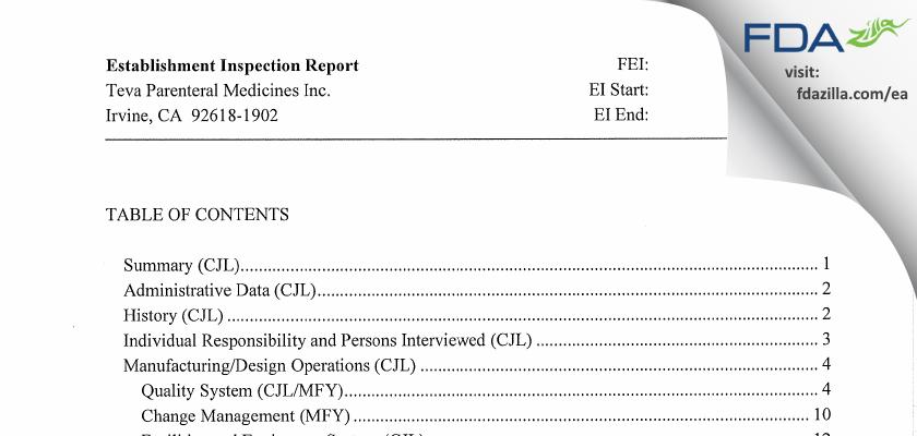 Teva Parenteral Manufacturing FDA inspection 483 Jun 2013