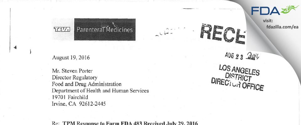 Teva Parenteral Manufacturing FDA inspection 483 Jul 2016
