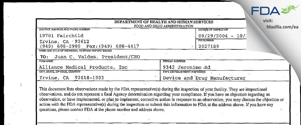 Alliance Medical Products (dba Siegfried Irvine) FDA inspection 483 Oct 2004