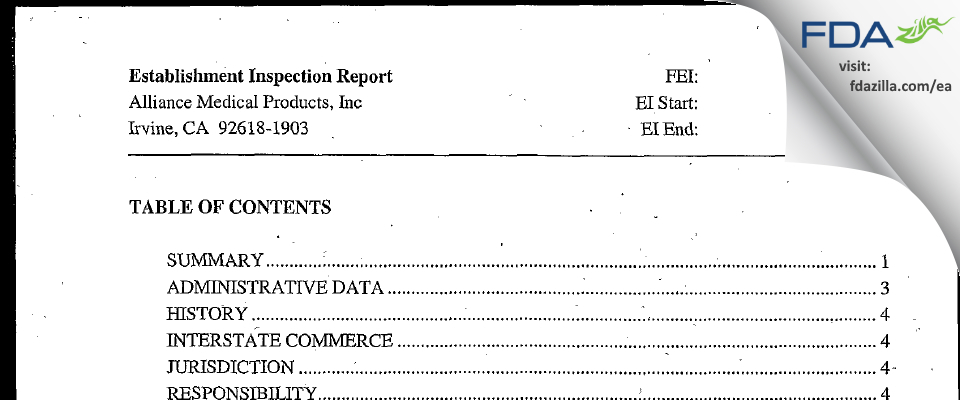 Alliance Medical Products FDA inspection 483 Oct 2004