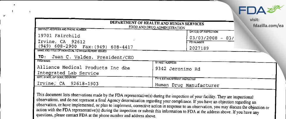 Alliance Medical Products (dba Siegfried Irvine) FDA inspection 483 Mar 2008