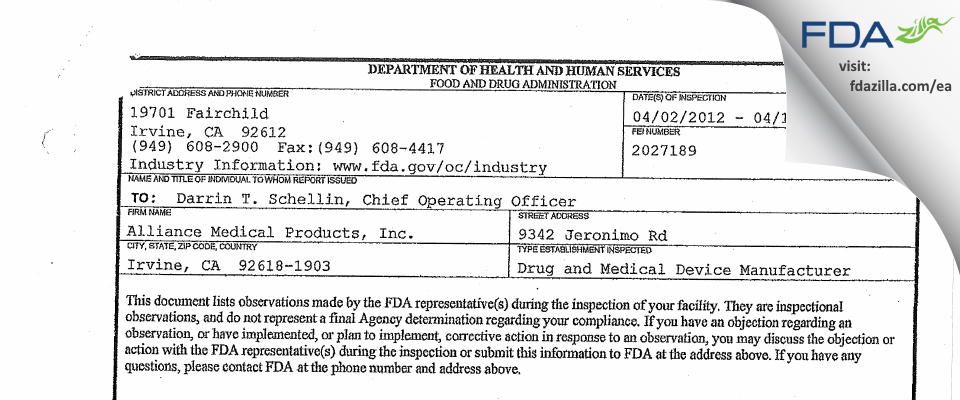 Alliance Medical Products FDA inspection 483 Apr 2012