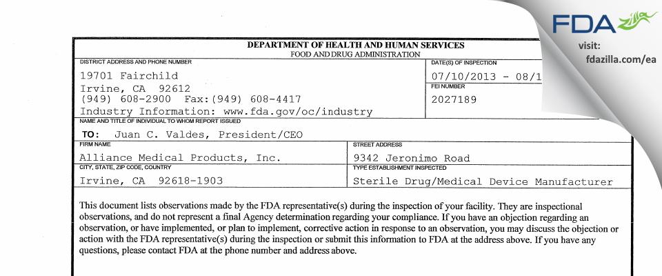 Alliance Medical Products (dba Siegfried Irvine) FDA inspection 483 Aug 2013