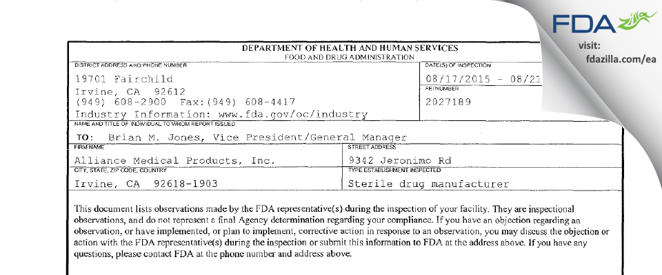 Alliance Medical Products (dba Siegfried Irvine) FDA inspection 483 Aug 2015