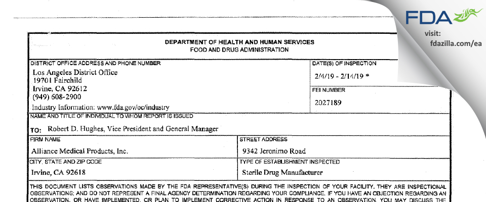Alliance Medical Products FDA inspection 483 Feb 2019