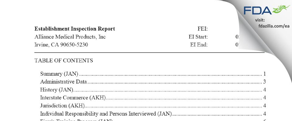 Alliance Medical Products (dba Siegfried Irvine) FDA inspection 483 Feb 2019