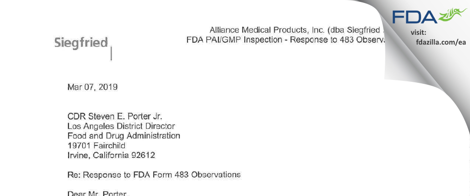Alliance Medical Products (dba Siegfried Irvine) FDA inspection 483 Feb 2019