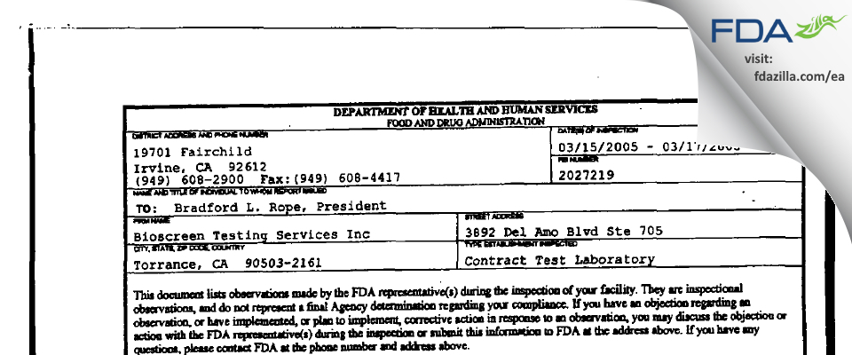 Bioscreen Testing Services FDA inspection 483 Mar 2005