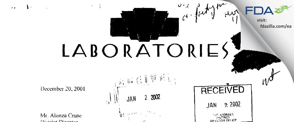 220 Labs FDA inspection 483 Dec 2001