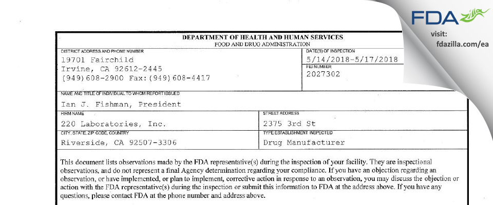 220 Labs FDA inspection 483 May 2018