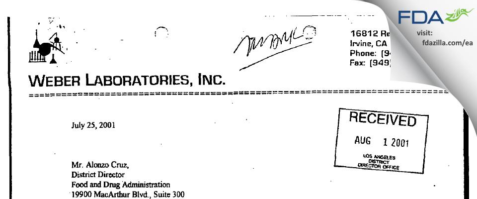 Weber Labs FDA inspection 483 Dec 2000