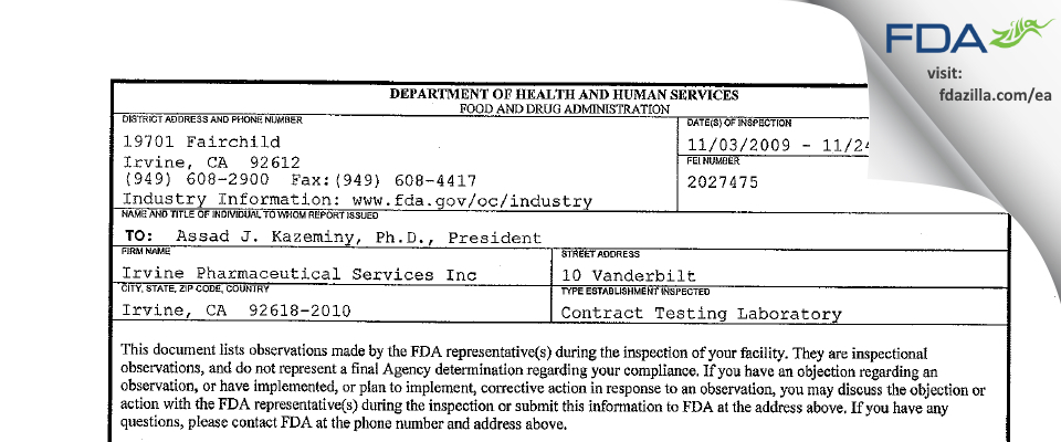 Irvine Pharmaceutical Services FDA inspection 483 Nov 2009