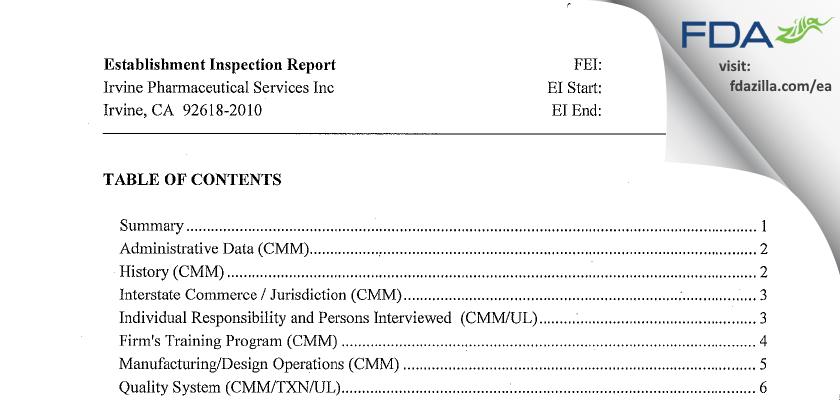 Irvine Pharmaceutical Services FDA inspection 483 Apr 2012