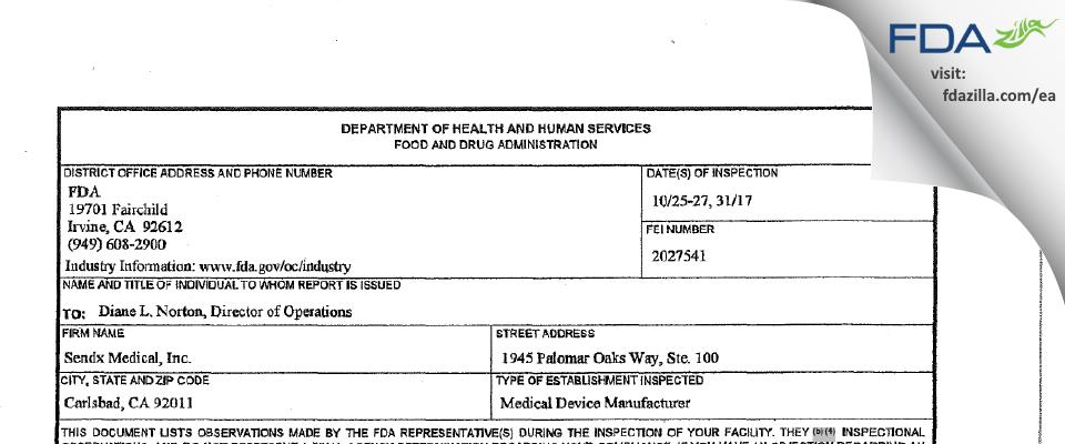 Sendx Medical FDA inspection 483 Oct 2017