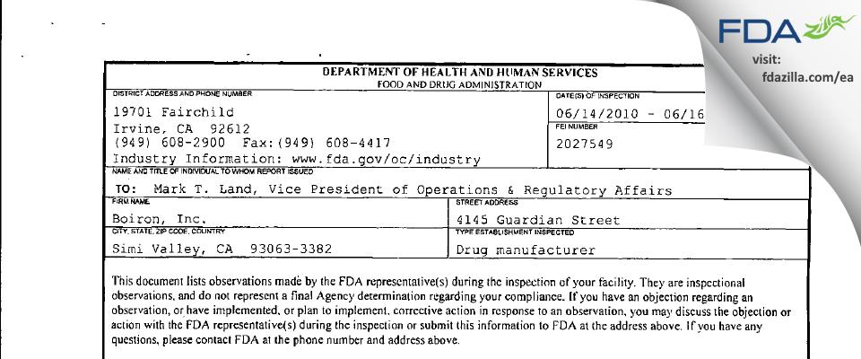 Boiron FDA inspection 483 Jun 2010