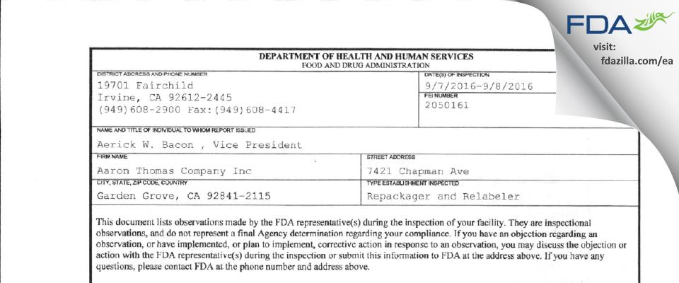 Aaron Thomas Company FDA inspection 483 Sep 2016
