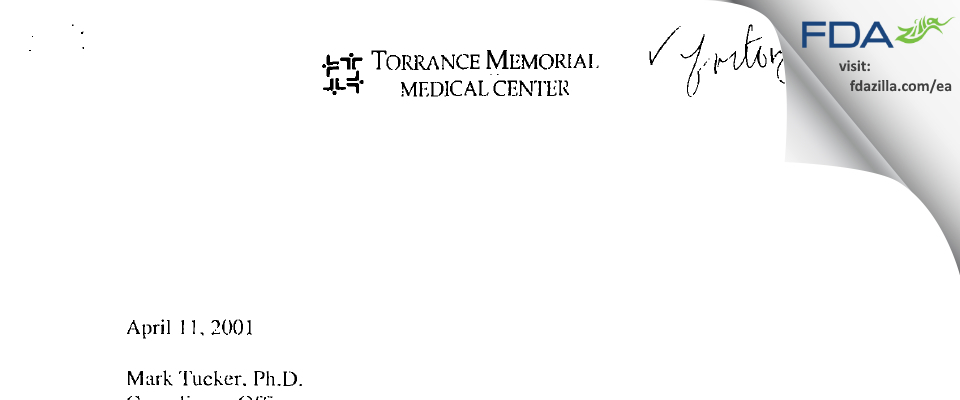 Torrance Memorial Medical Center FDA inspection 483 Jan 2001