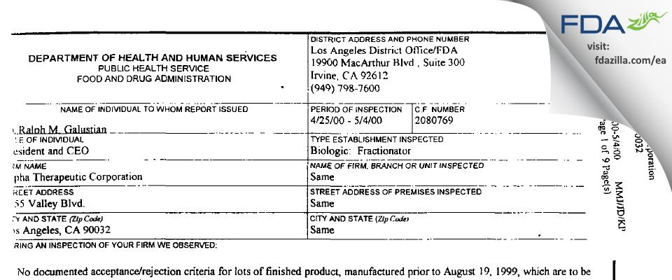 Grifols Biologicals FDA inspection 483 May 2000