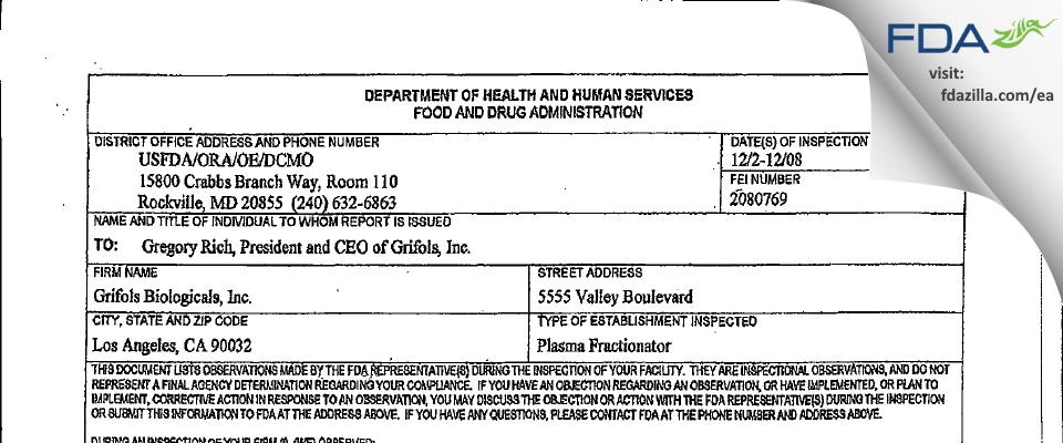 Grifols Biologicals FDA inspection 483 Dec 2008