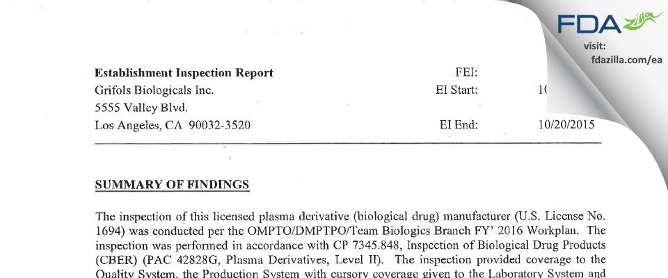 Grifols Biologicals FDA inspection 483 Oct 2015